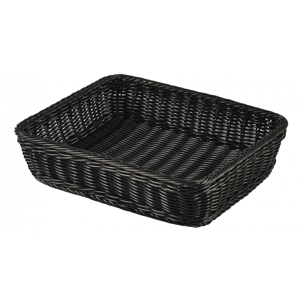 Genware GN 1/2 Black Polywicker Display Basket 32cm x 26cm