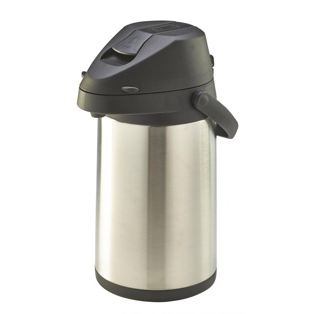 genware lever action stainless steel vacuum pump flask 3 5l crosbys