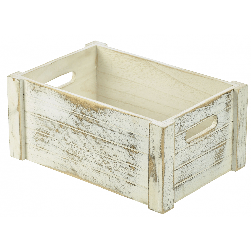 Genware white wash rustic wooden crate 34cm x 23cm crosbys for Where to buy old crates