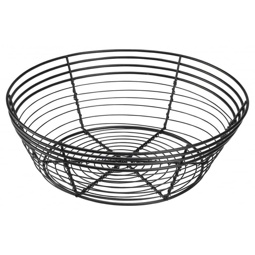 Genware Round Black Wire Basket 25.5cm x 8cm | Crosbys