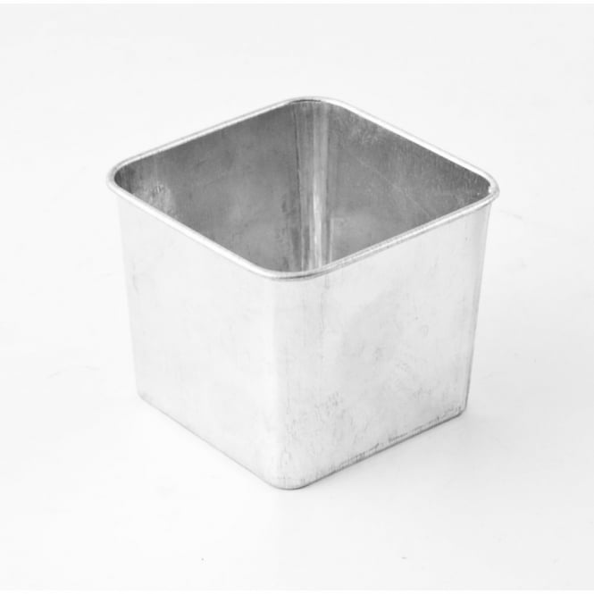 Genware Galvanised Stainless Steel Square Serving Tub 8cm | Pack of 6
