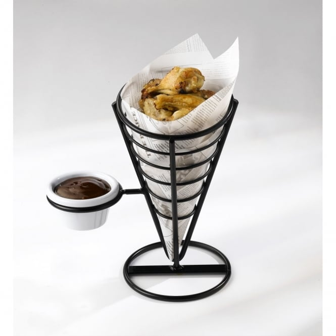 Genware Wire Serving Cone 21.5cm (with dip holder)