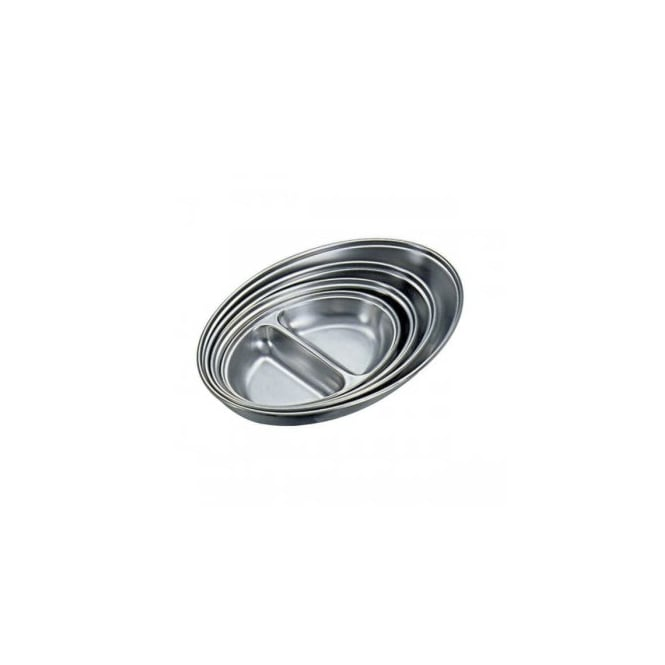 Genware Stainless Steel Oval Two Division Dish 30cm | Pack of 6