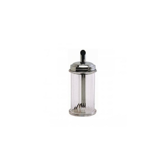 CLEAR PLASTIC SUGAR POURER WITH Stainless Steel TOP