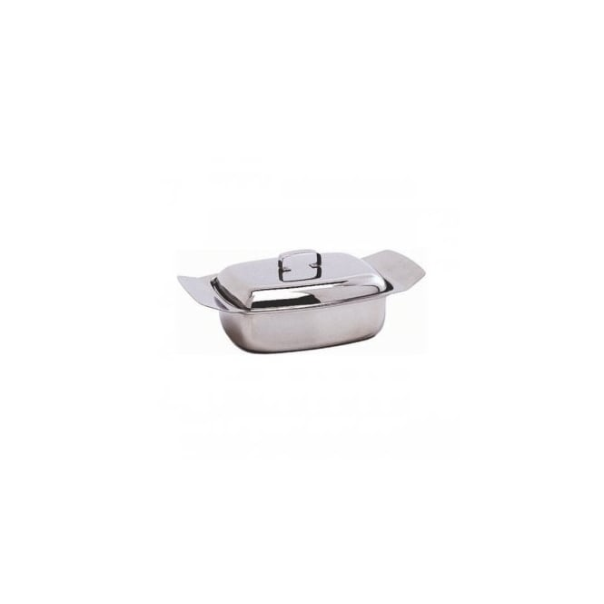 Genware Stainless Steel Butter Dish & Lid | Pack of 6