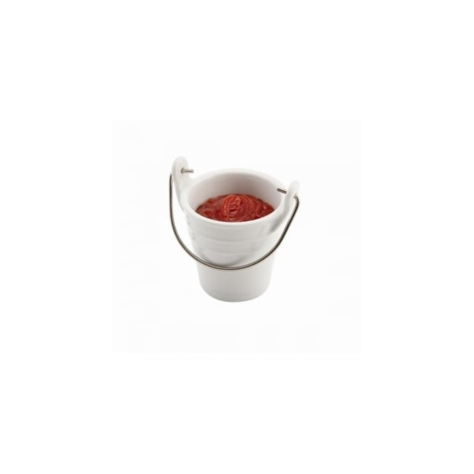 Genware Porcelain Bucket with Handle 100ml | Pack of 6