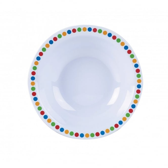 Genware 16cm Melamine Bowls - Coloured Circles | Pack of 12