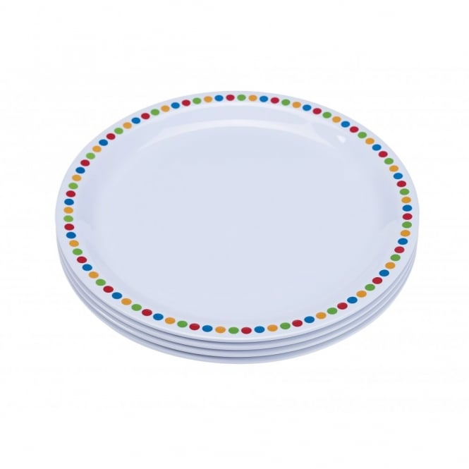 Genware 16cm Melamine Plates - Coloured Circles | Pack of 12