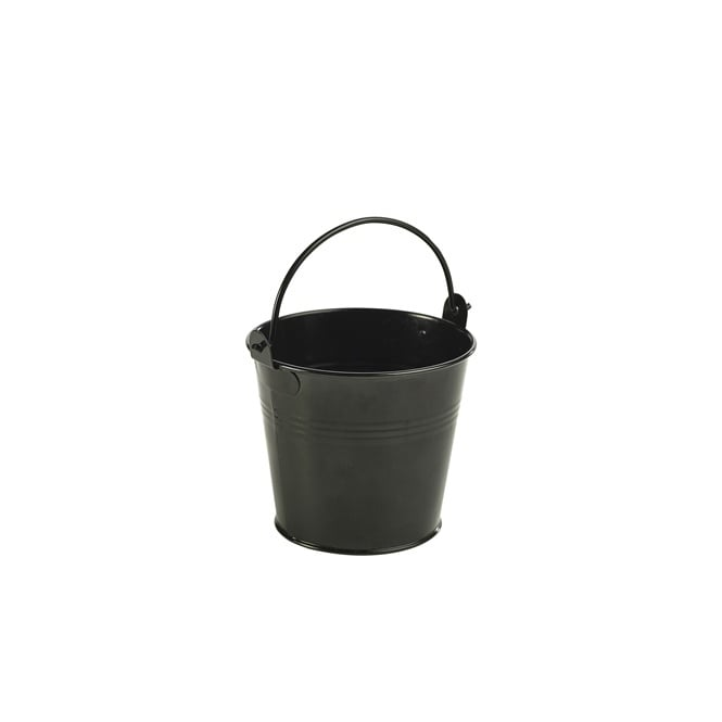 Genware Galvanised Steel Black Serving Bucket 10cm | Pack of 6