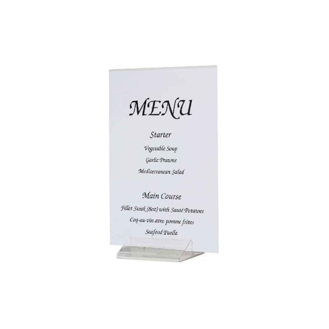 Genware Acrylic Menu / Card Holder Tent Shape