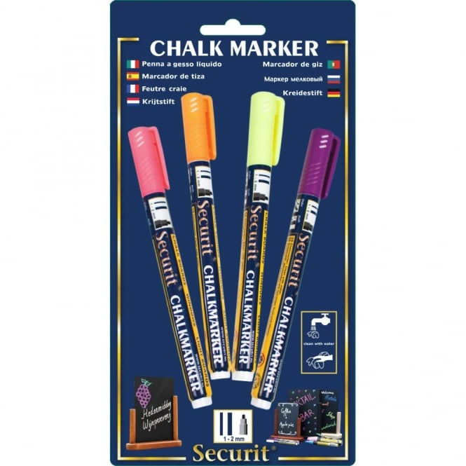 Genware Liquid Chalk Markers Tropical Pack of 4 | Yellow, Pink, Orange, Purple
