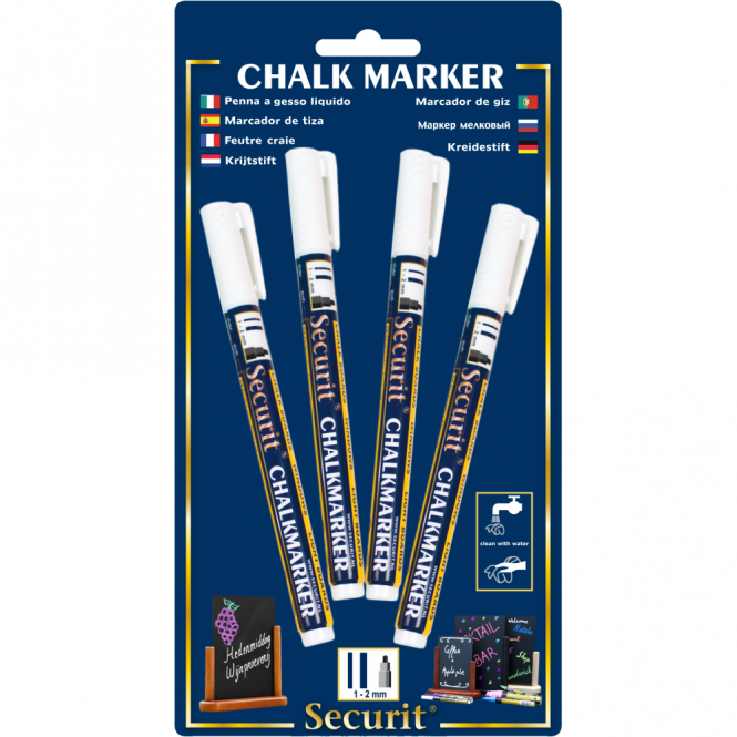 Genware Liquid Chalk Markers Pack of 4 White