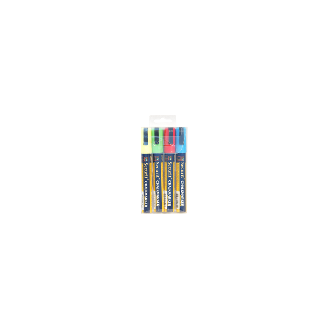 Genware Liquid Chalk Markers Pack of 4 | Red, Green, Yellow, Blue