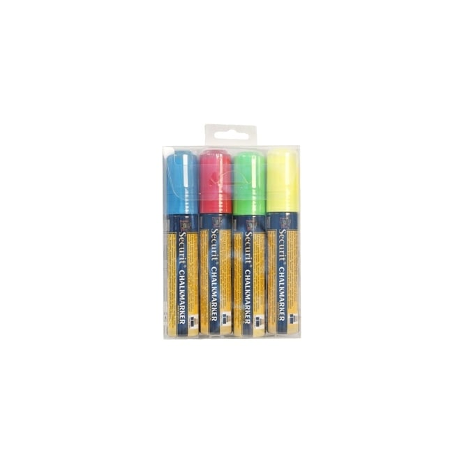 Genware Large Tip Liquid Chalk Markers Pack of 4 | Red, Green, White, Blue
