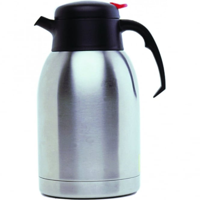 Genware Stainless Steel Hot Water Inscribed Vacuum Jug 2L