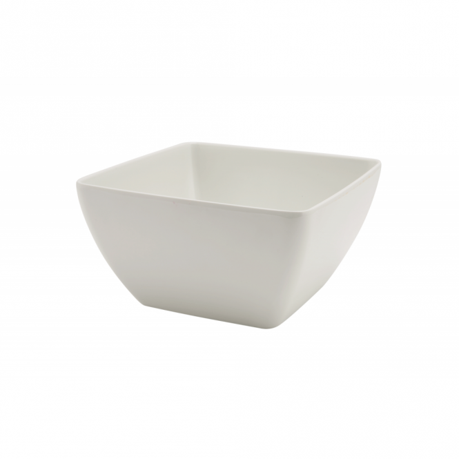 Genware White Melamine Curved Square Bowl 19cm