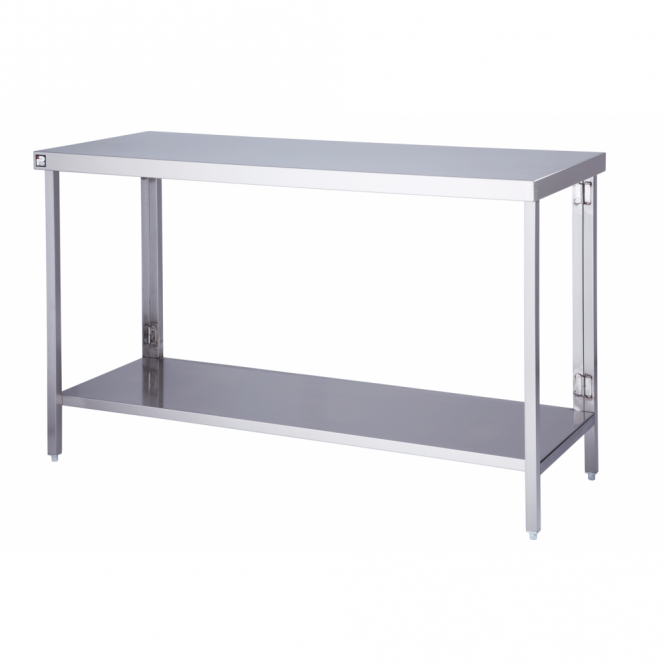 Flatpack Stainless Steel Table with 1 Undershelf