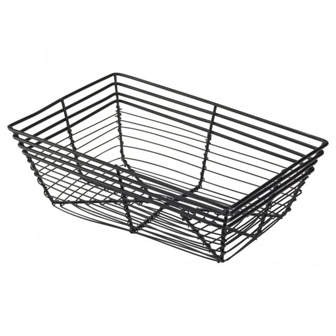 Genware Rectangular Black Wire Basket 23cm x 15cm