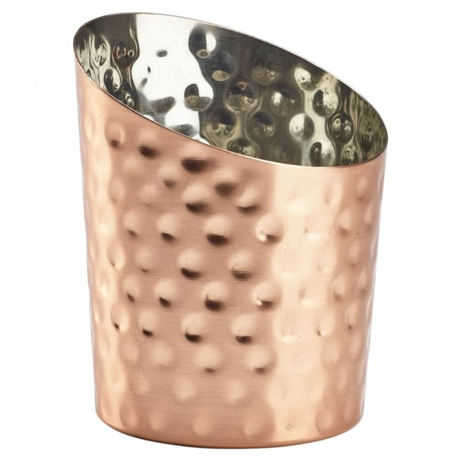 Genware Hammered Copper Angled Serving Cup