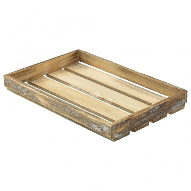 Genware Wooden Crate Dark Rustic Finish 35cm x 23cm