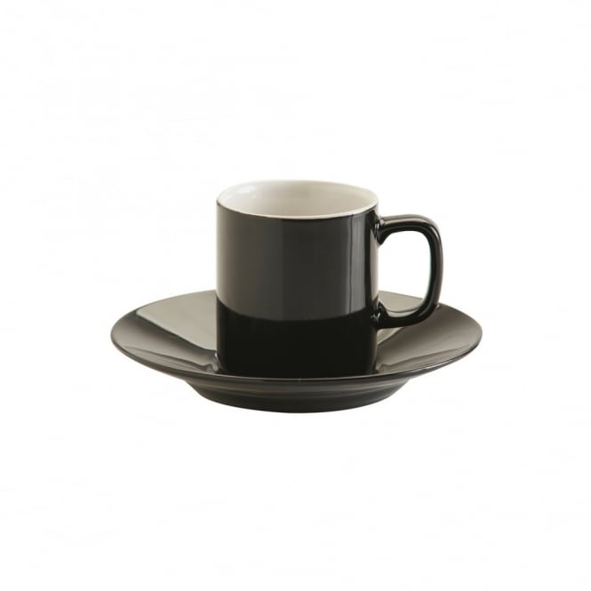 Price & Kensington 3oz Gloss Black Espresso Cup and Saucer | Pack of 12