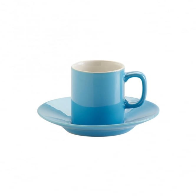 Price & Kensington 3oz Gloss Brights Blue Espresso Cup and Saucer | Pack of 12