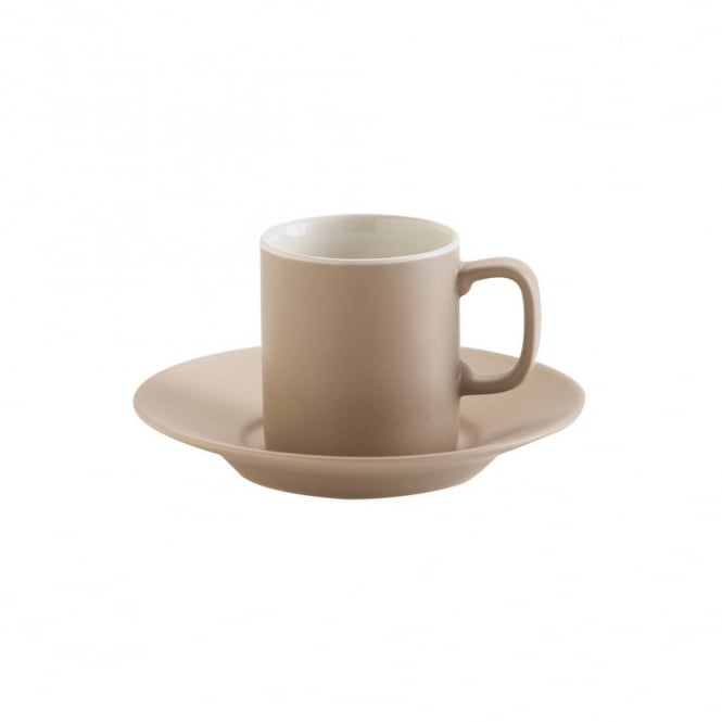 Price & Kensington 3oz Matt Taupe Espresso Cup and Saucer | Pack of 12