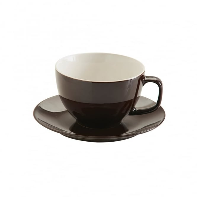 Price & Kensington 15oz Gloss Brown Rockingham Large Cup and Saucer | Pack of 6