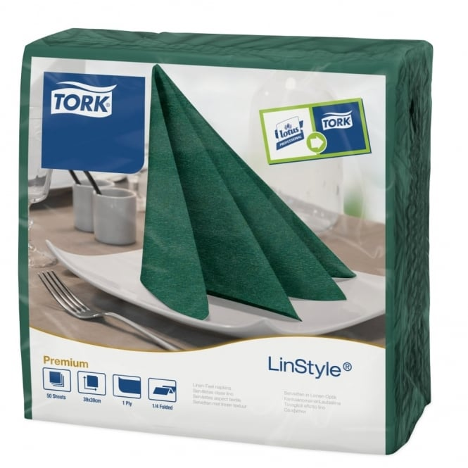 Tork LinStyle Mountain Pine Green Dinner Napkin 478847 | Pack of 600