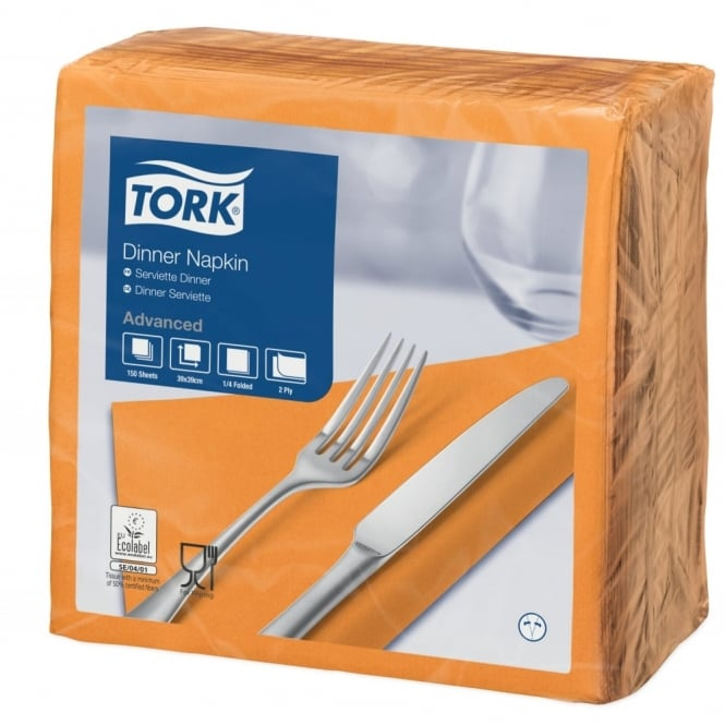 Tork Orange Dinner Napkin 477907 | Pack of 1800
