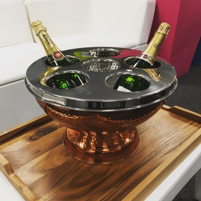 Hammered Effect Copper Plated Champagne Bucket & Wine Cooler
