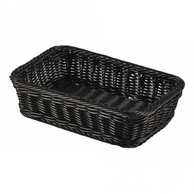 Genware GN 1/4 Black Polywicker Display Basket 26.5cm x 16cm x 7cm