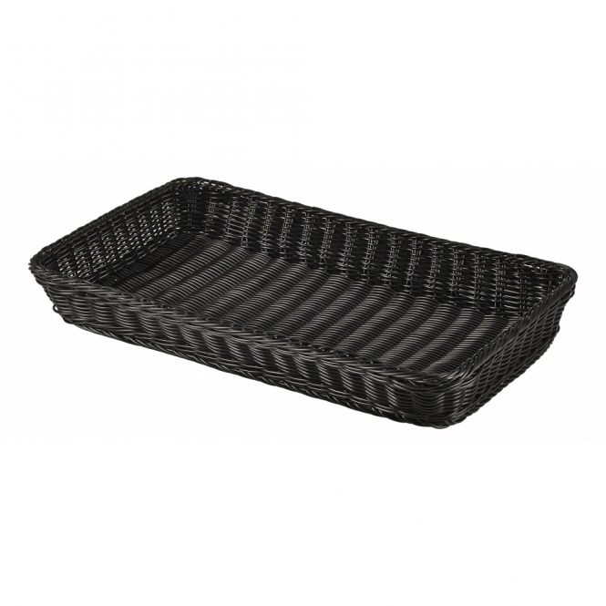 Genware GN 1/1 Black Polywicker Display Basket 53cm x 32cm x 7cm