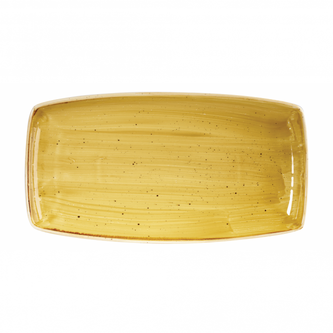 Churchill Stonecast Oblong Plate 35cm x 18.5cm - Mustard Seed Yellow | Pack of 6
