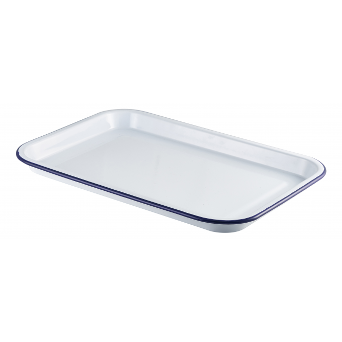 Genware White Enamel Serving Tray 33.5cm x 23.5cm