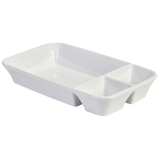 Royal Genware Rectangular Divided Dish with 2 Sauce Sections 26 x 15cm