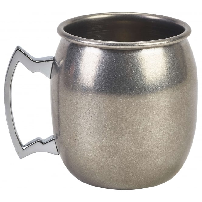 Genware Vintage Stainless Steel Barrel Mug 400ml 14oz