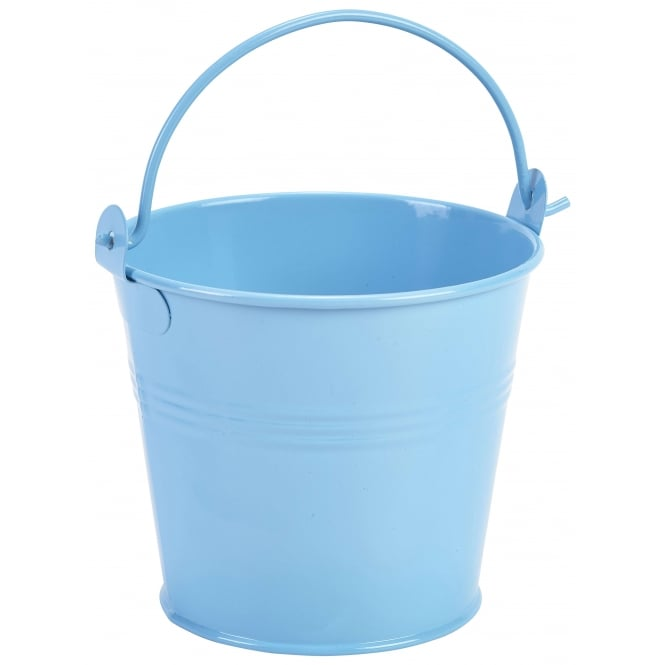 Genware Galvanised Steel Bright Blue Serving Bucket 10cm 500ml