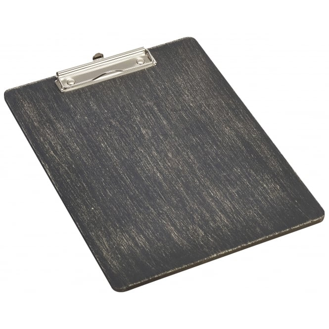 Genware Black Wooden Menu Clipboard - A4