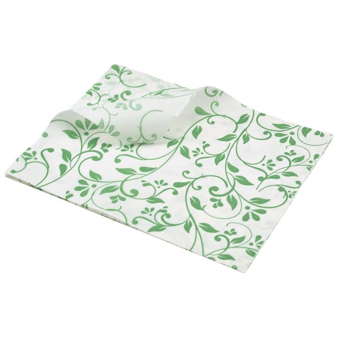 Genware Greaseproof Paper Floral Print - 25 x 20cm - Green