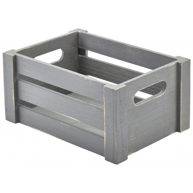 Genware Grey Wooden Crates 22.8 x 16.5 x 11cm
