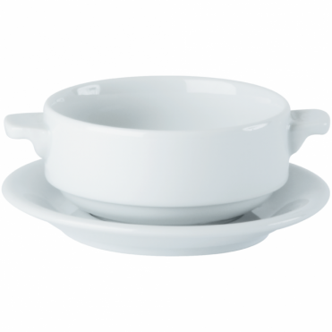 Lugged Soup Cup and Double Well Saucer 280ml 10oz | Pack of 6