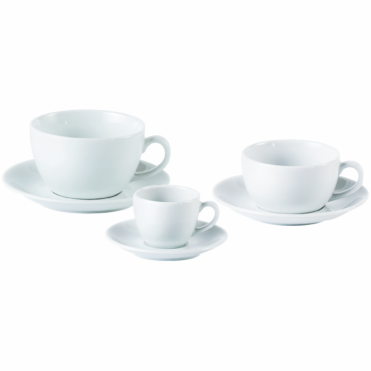 Bowl Shape Cups and Saucers 340ml 12oz | Pack of 6