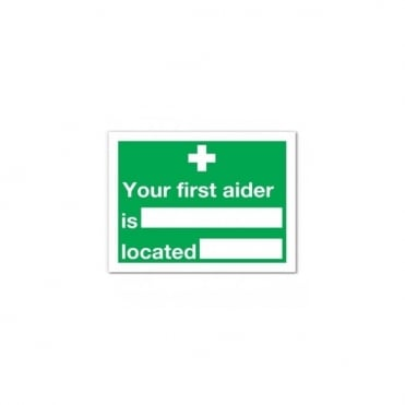 Your First Aider Self Adhesive Sign 20 x 15cm