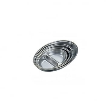 Stainless Steel Oval Two Division Dish 35cm | Pack of 6