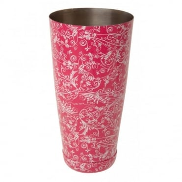 Pink Floral Boston Can Shaker 800ml