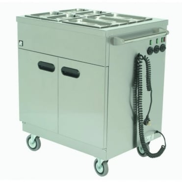 Mobile Hot Trolley Servery with Bain Marie Top