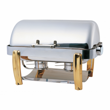 Deluxe Oblong Roll Top Chafing Dish with Brass Legs