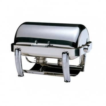 Deluxe Oblong Roll Top Chafing Dish with Chrome Legs