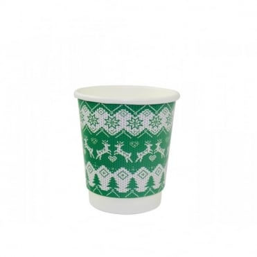 Christmas Jumper Green Disposable Cups 8oz | Case of 500